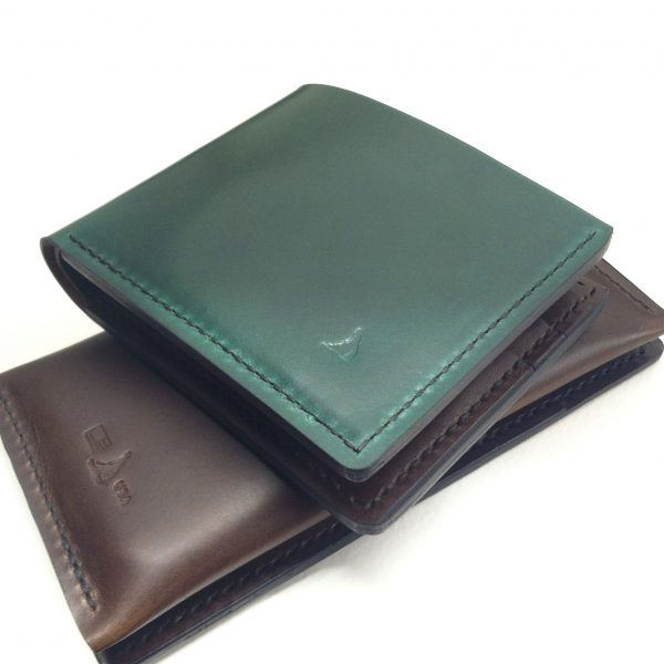 Green Shell Cordovan bifold wallet
