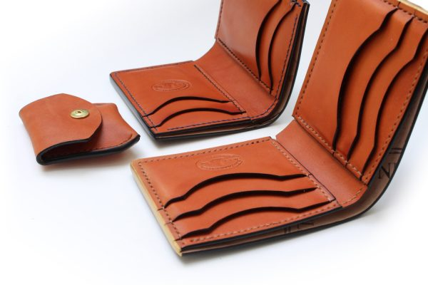 Natural veg tan leather wallets