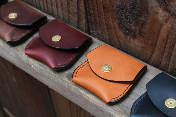 Small leather change pouch